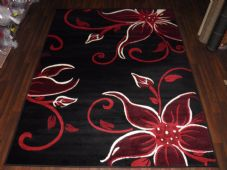 Modern Approx 7x5 150x210cm Woven Lily Design Rugs Sale Top Quality Black/Red